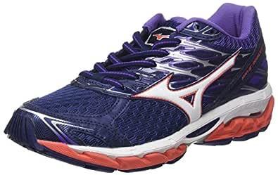 Mizuno Women's Wave Paradox 4 Shoes, Patriot Blue/White/Hot Coral, 7 US