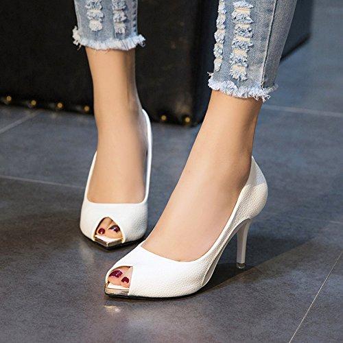 SHOESHAOGE Sandalias Boca De Pescado Zapatos Femeninos, Con Estudiantes Zapatos De Mujer Tacones Altos Hilados Neto Chica Fina Con Solo Zapatos ,Eu38 EU40