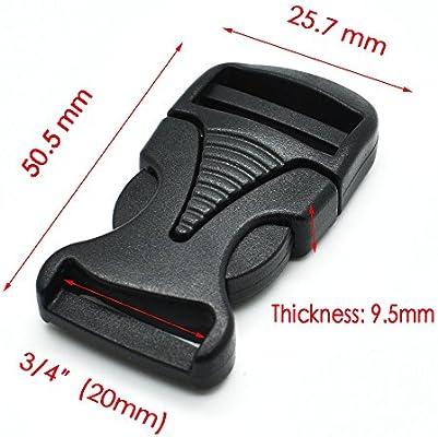 5pcs/pack plástico soltar negro hebilla para correas de mochila equipaje Webbing