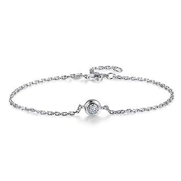 641e6809f48d LPRWEC Pulsera de Mujer de Plata esterlina Diseño Simple y Redondo Diseño  de Brazalete Cristales Brillantes