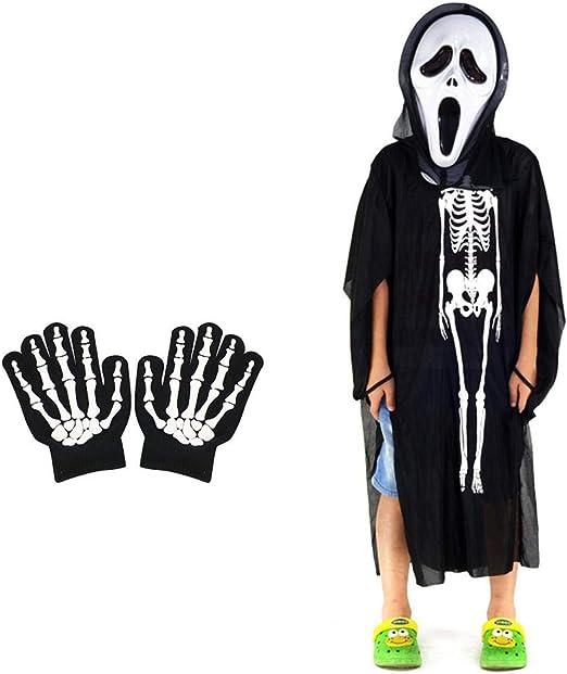 Volwco - Disfraz de Esqueleto para Halloween, Guantes de Esqueleto ...