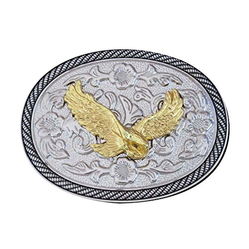 American Eagle Western Gold & Silver Oval Novetly Mens Belt buckle - Western Oval Belt Buckle