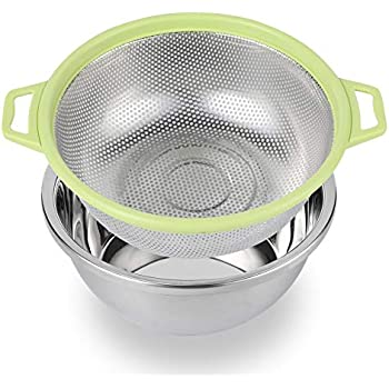 WQGRLLR 360 Degree Rotational Colander Stainless Steel Collapsible Self-draining Strainer and Washing Bowl Basket Set for Fruit Vegetable Pasta Spaghetti Grains Fruits Salads
