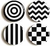 Monochrome Mod Sixties Button Pin Set (Size is 1inch Diameter) 1960s