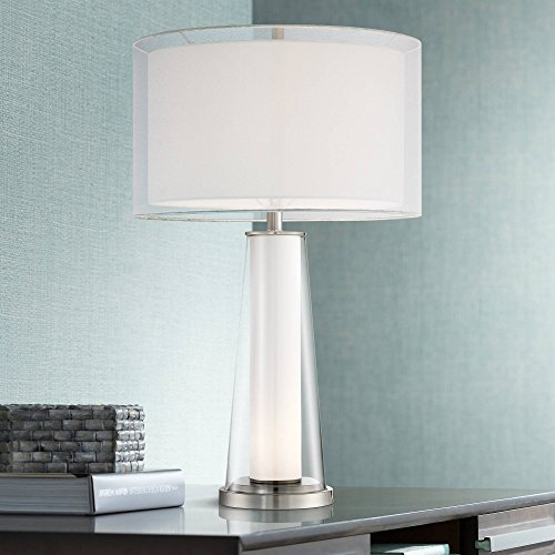 Bruno Modern Table Lamp with Nightlight Frosted Glass Inner Clear Glass Outer White Drum Shade for Living Room Family - 360 Lighting