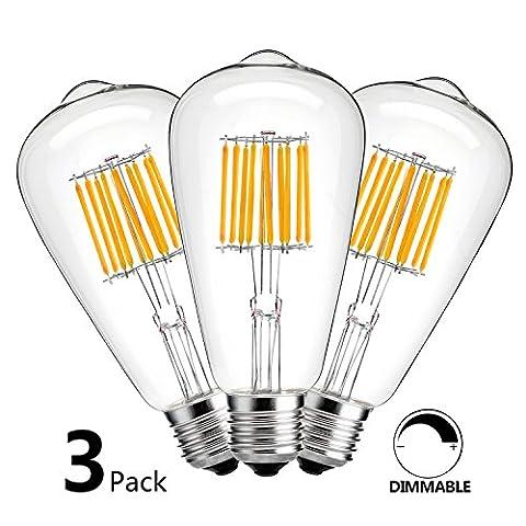 HzSane ST64(ST21) 10W Antique Edison Style LED Filament Light Bulb, 2700K Warm White, 1000LM, E26 Base Lamp, 100W Incandescent Equivalent, Dimmable, (100watt Edison Light Bulbs)