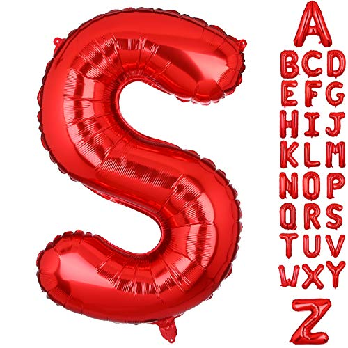 40 Inch Large Letter S Foil Balloons Red Alphabet Mylar Balloon for Birthday Party Decoration Wedding Decor Girls ()
