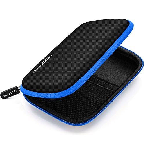 deleyCON Festplattentasche / Festplatten Case / HDD Case - für 2.5 Zoll Festplatten und SSD - Robust & Stoßsicher - 2 Innenfächer / Netztaschen - Schwarz/Blau