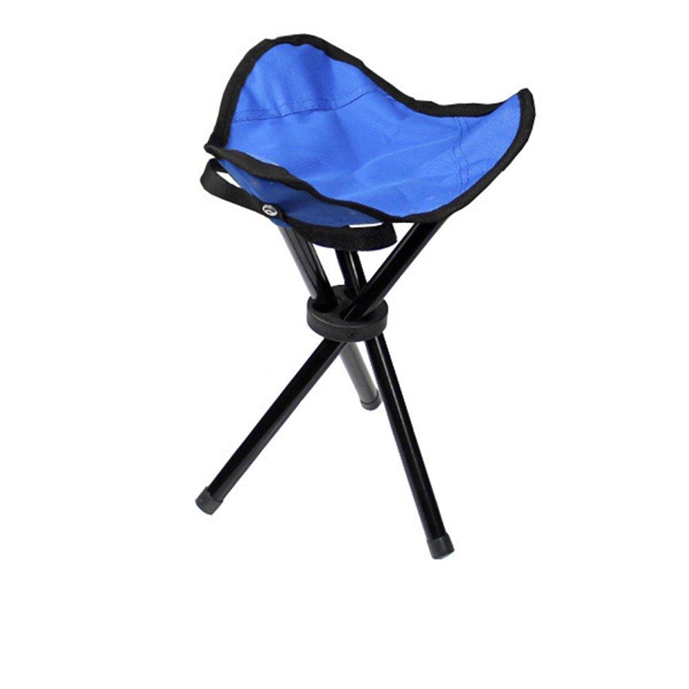 Wskderliner taburete plegable portátil ligero Camping pesca senderismo triángulo silla bolsillo lienzo trípode con 3 patas de hierro (azul)