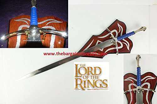 A Hobbit Lord Of The Rings LOTR Real Steel Sword Crusader Medieval Glamdring The White Wizard Like Sword of Gandalf & Decorative Plaque ()