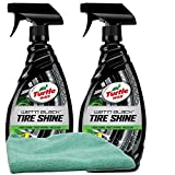 Turtle Wax Wet n' Black Tire Shine Bundle with Microfiber Cloth (3 Items)