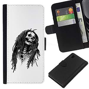 Be-Star la tarjeta de Crédito Slots PU Funda de cuero Monedero caso cubierta de piel Para Sony Xperia Z1 L39 ( Marley Rasta Skull Jamaica Singer )