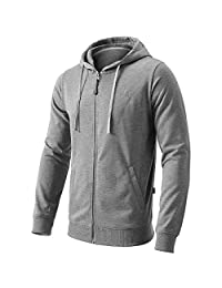 FLY HAWK Men's Pullover Hoodies Casual Zip Up Hoody Gym Workout Joggers Sweatshirt