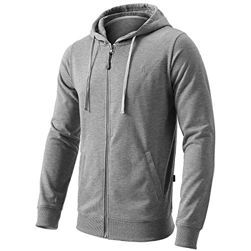 Men's Full-Zip Hooded Cotton Blend Sweatshirt with 2 Split Pockets Light Gray S
