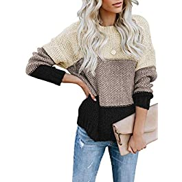 CANIKAT Women's Crewneck Color Block Striped Sweater Long Sleeve Loose Knit Pullover Jumper Tops