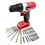 Hi-Spec 8V Cordless Drill Screwdriver with 1300mAh Lithium-Ion Battery, 15+1 Position Keyless Chuck, Variable Speed Trigger, 10N.m LED and 38pc HSS Drill and Screw Bit Drill Driver Power Tool Set