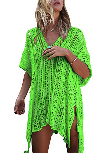 Wander Agio Beach Swimsuit for Women Sleeve Coverups Bikini Cover Up Net Slit Knit Green Fruit