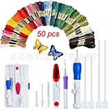 Onner Embroidery Kit Craft Tool Set Embroidery Pen Punch Needle Craft Tool Including 50 Color Threads