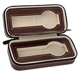 New Gift PU Brown Leather 2 Slot Watch Travel Storage Case Bag Watch Box