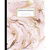 Composition Notebook: Wide Ruled Lined Paper Notebook Journal: Gold Glitter Liquid Marble Painting Workbook for Girls Kids Teens Students for Back to School and Home College Writing Notes