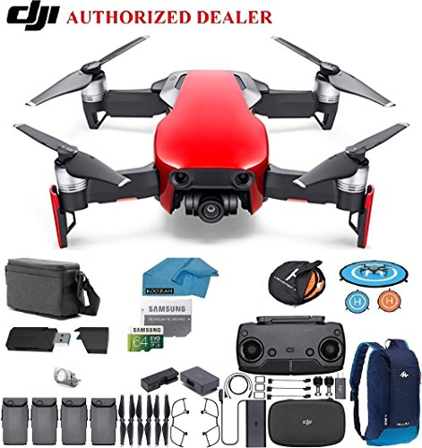 Cheap DJI Mavic Air Fly More Combo Drone – Quadcopter with 64gb SD Card – 4K Professional Camera Gimbal – 4 Battery Bundle – Kit – with Must Have Accessories (Flaming Red)