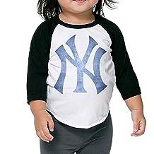 New York Yankees Black Pond Logo Kids 3/4 Raglan Baseball T Shirts