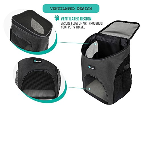 PetAmi Premium Pet Carrier Backpack for Small Cats and Dogs   Ventilated Design, Safety Strap, Buckle Support   Designed for Travel, Hiking & Outdoor Use (Gray)