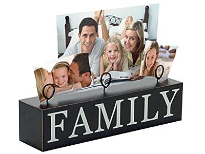 Malden International Designs Tabletop Photo Clips Wood Block Family Picture Holder, 3 Option, Black