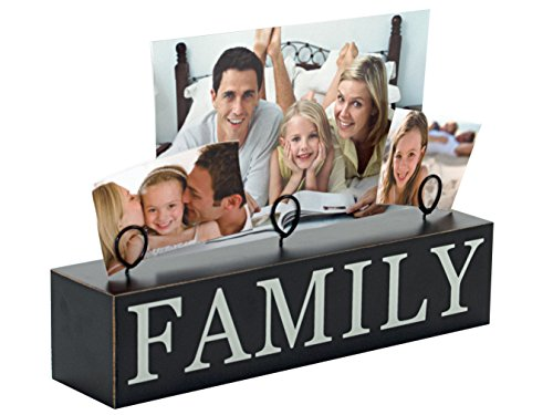 Malden International Designs Tabletop Photo Clips Wood Block Family Picture Holder, 3 Option, ()