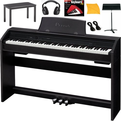 Casio PX750 Digital Piano Bundle With Casio CB7BK Furniture Style Bench, Headphones, Hal Leonard Instructional Book, Instrument Cables, Polishing Cloth & Heavy Duty Music Stand