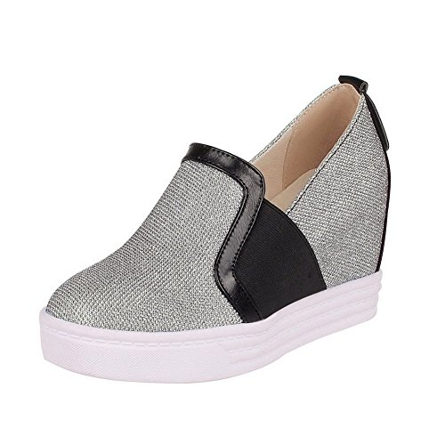VogueZone009 Women's Soft Material Pull-On Round Closed Toe High-Heels Pumps-Shoes Silver FujIJ7