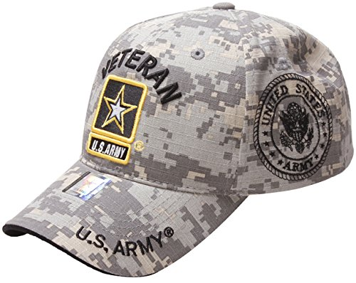 US Army Official License Structured Front Side Back and Visor Embroidered Hat Cap (One Size, Veteran Emblem Camo)