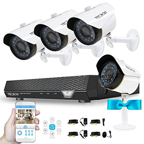 Video Surveillance System 720P 4CH Security DVR System (No Hard Drive) with 4 1.5MP Security Cameras Weatherproof CCTV Cameras Security Video System by TECBOX