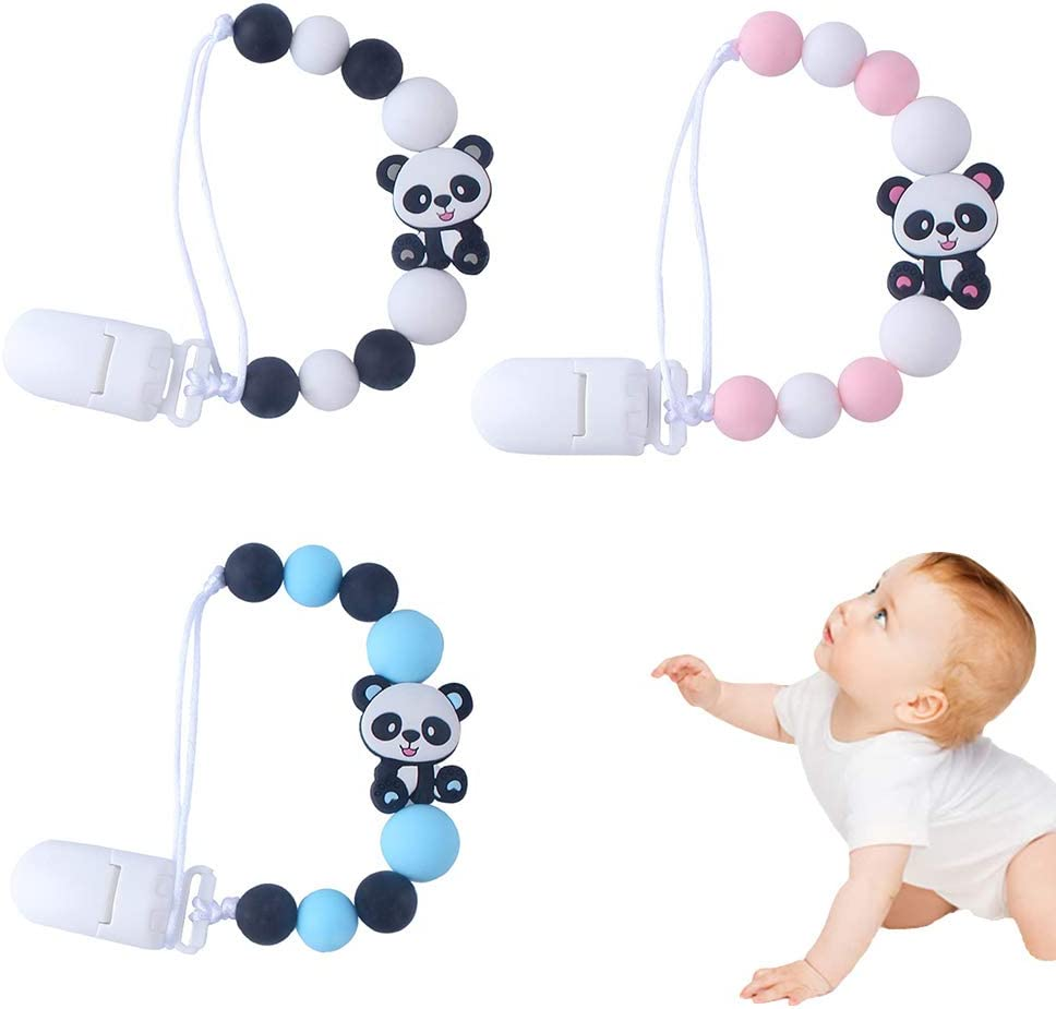 nettes Baby Schnullerkette Silikon Chou Panda Dummy Clips Baby Schnuller Clip