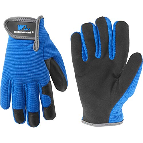Kids Stretch Work Gloves with Synthetic Leather Palm, Fits Youth Ages 5-8 (Wells Lamont 7700Y)