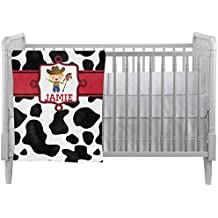 Cowprint w/Cowboy Crib Comforter / Quilt (Personalized)