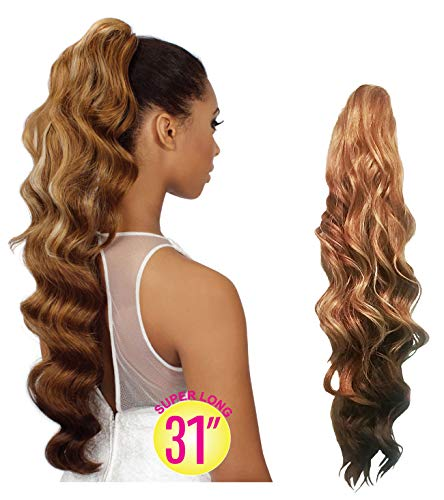EVE HAIR 100% Heat Retardant Fiber Synthetic Clip In Claw Drawstring Ponytail Hair Extension for Beauty - 31 Inches Super Long Curly Ponytail - Color # 2 ()
