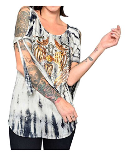 Harley-Davidson Women's Copper Iron Embellished Tied Sleeves Top, Charcoal (2XL)