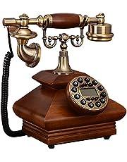 GWF Retro / antieke telefoon / vast hout / sleutelkeuze / met beller identificatie functie bedrade telefoon gemaakt van hout en messing (grootte: 20 * 16 * 32 cm) vaste telefoon