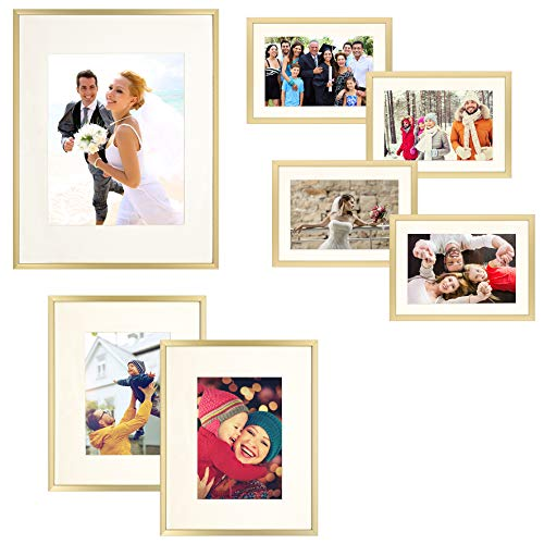 Frametory 7 Piece Gold Aluminum Wall Frame with Ivory Color Mat Set - Four 5x7 - Two 8x10 - One 11x14 - Real Glass - Swivel Tabs - Sawtooth Hangers (Gold) (Gold Frame Professional)