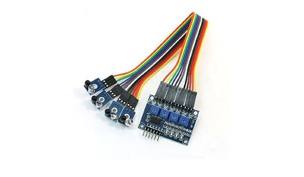 Amazon.com: Obstáculo infrarrojos eDealMax 4 Canales evitación del módulo del Sensor Azul Para Smart Car: Industrial & Scientific