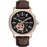 Bulova Classic 45mm Automatic Leather Strap Men's Watch (Brown)