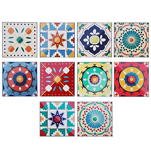 Volwco 10Pcs Mandala Decorative Tile Stickers, Peel and Stick Backsplash Tiles Wall Sticker Home Decor Fire Retardant Wallpaper for Bathroom Kitchen - Easy to Install DIY (8x8cm)