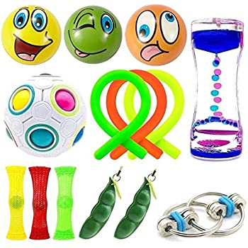 14 Pack Bundle Sensory Toys-Liquid Motion Timer/Rainbow Magic Ball/Bike Chain/Mesh And Marble Toy/Soybeans Squeeze Grape Ball/Stretchy String Toy for ADD ADHD Stress Relax