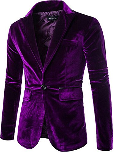 jeansian Men's Fashion Corduroy Solid Blazer Jacket Outwear 9372 Purple L