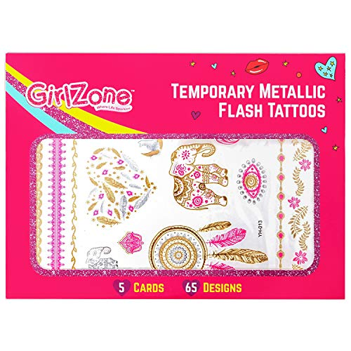 oos for Girls - Metallic, Temporary Tattoos - 5 Card Pack - 65 Designs.. Makes A Great Birthday Present, Gifts for Girls Aged 4 5 6 7 8 9 10 Years Old ()