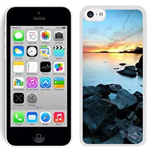 NEW Unique Custom Designed iPhone 5C Phone Case With Industrial Town Lake Sunset_White Phone Case