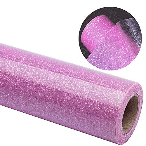 Glitter Heat Transfer Vinyl Pink Roll 12x40DIY for T-Shirt and Garment