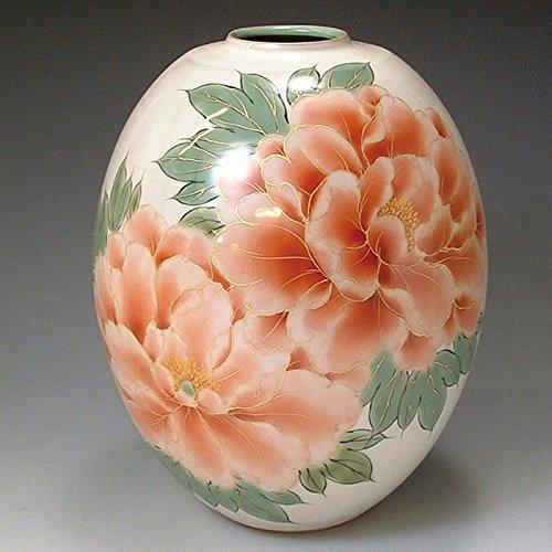 京焼清水焼 陶器 花器 花瓶 白掛牡丹 紙箱入 Kiyomizu-kyo yaki ware. Japanese ceramic Ikebana flower vase. White peony. B0793Q2N4V