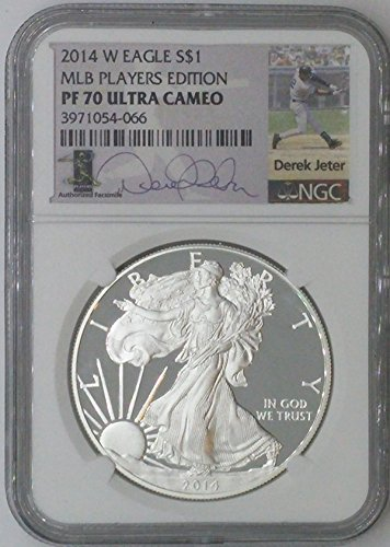 2014 W Special Mint $1 PF70 NGC $1 Silver Eagle 1 Troy Oz Fine Silver .999 MLB Players Edition Derek Jeter PF70 Ultra Cameo NGC